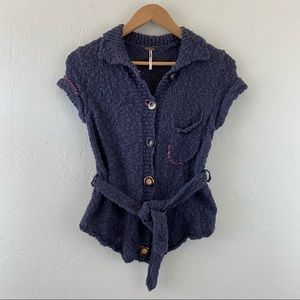 Free People Navy Short Sleeve Knitted Sweater Top